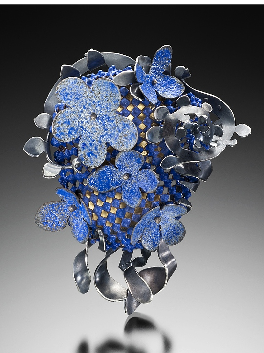 "Wendy McAllister.  Blue Vines brooch - Vitreous enamel, copper, sterling silver, 23k gold.  - 3.50"" x 2.75"" x 1"""