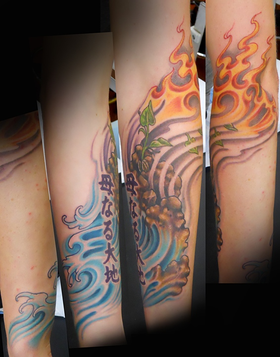Custom tattooing by alfredo matta - Tatouage 4 elements ...