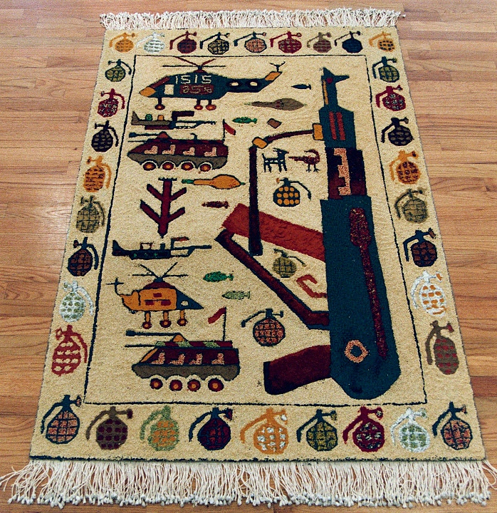 Superb Afghan War Rug No. 35, Paratroop Version, AK 47