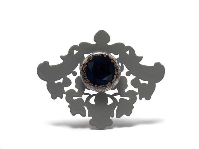 Brooch with Gemstone Button