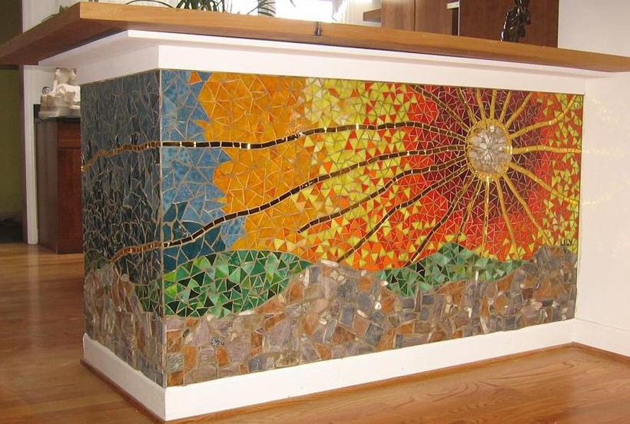 Stained glass tile backsplash
