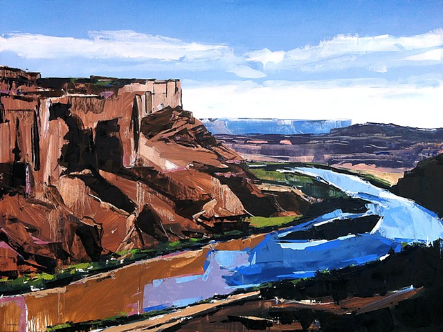 "'Colorado River, UT'  36""x48"" Oil on wood"