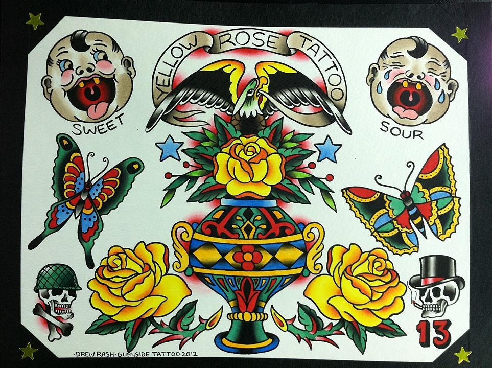 GLENSIDE TATTOO - Yellow Rose Tattoo Flash Trade