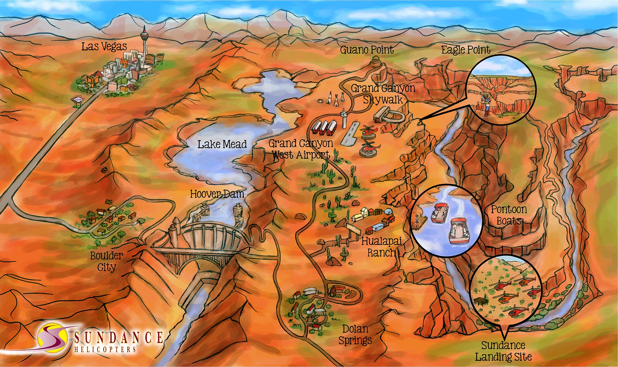 Edward Pollick Art Illustration - Las vegas grand canyon map