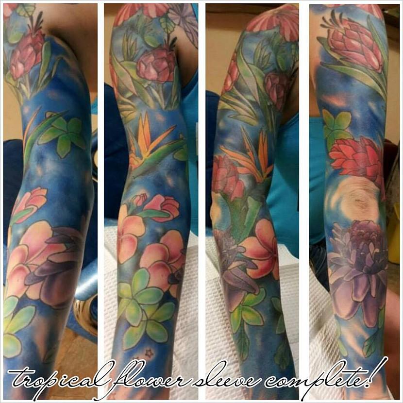 Hummingbird N Tropical Flowers Tattoo On Back