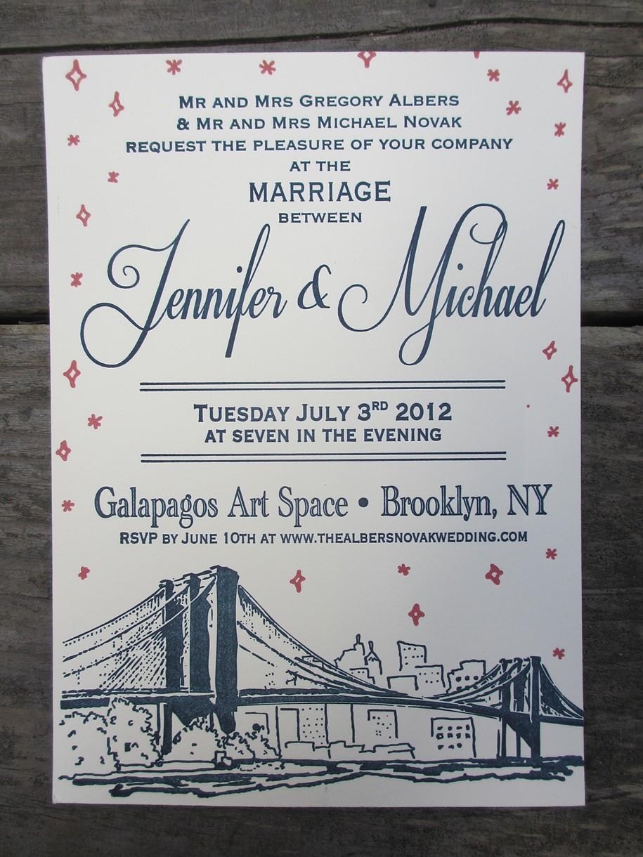 Letterpress Wedding Invitations Brooklyn Twilight