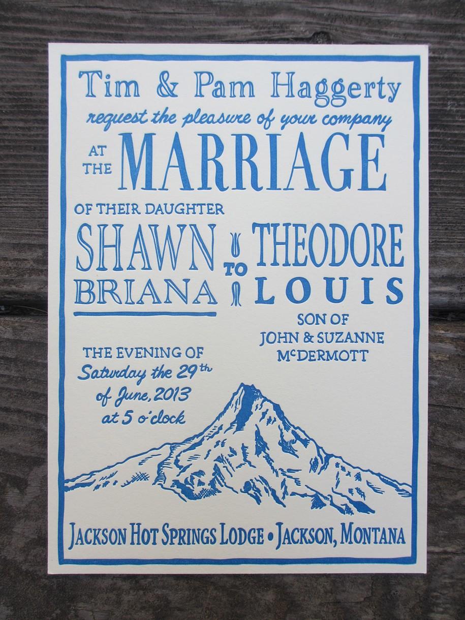 seaside press Letterpress Wedding Invitation Mt Hood