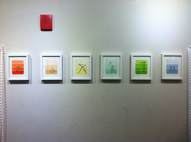 studio installation pic of framed work