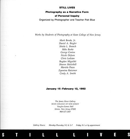 Still Lives Exhibition Catalog Title Page