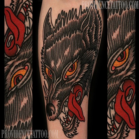 color wolf tattoo / dennis del prete