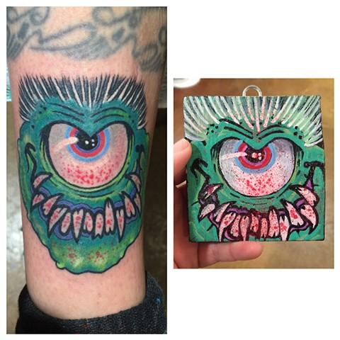monster tattoo, eyeball tattoo, Provincetown tattoo, Cape Cod tattoo, Ptown tattoo, truro, wellfleet, custom tattoo, coastline tattoo