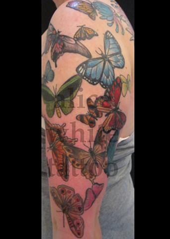 Alice White - butterflies, custom tattoo, Provincetown tattoo, Cape Cod tattoo, Coastline tattoo, Ptown tattoo