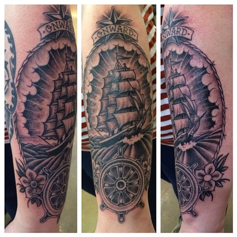 ships wheel, ship, nautical tattoo, Provincetown tattoo, Cape Cod tattoo, Ptown tattoo, truro, wellfleet, custom tattoo, coastline tattoo