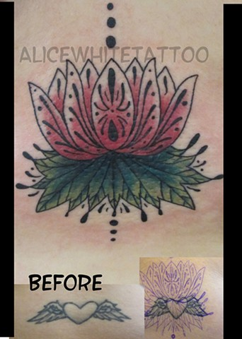 Alice White - Lotus tattoo, Provincetown tattoo, Cape Cod tattoo, Ptown tattoo, truro tattoo, wellfleet tattoo, custom tattoo, coastline tattoo