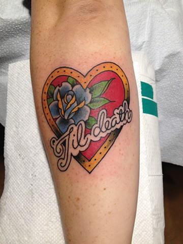 Traditional tattoo, heart tattoo, rose tattoo, 'til death, Provincetown tattoo, Cape Cod tattoo, Ptown tattoo, truro, wellfleet, custom tattoo, coastline tattoo