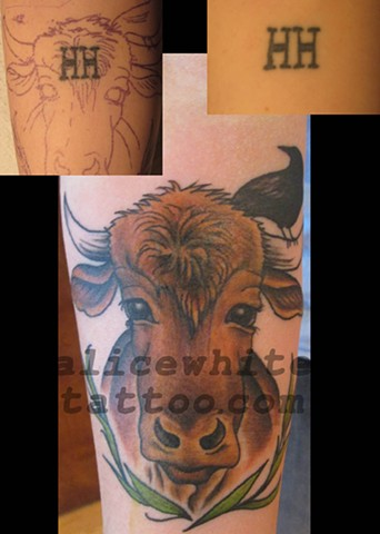 Alice White - Cow cover-up tattoo, Provincetown tattoo, Cape Cod tattoo, Ptown tattoo, truro tattoo, wellfleet tattoo, custom tattoo, coastline tattoo
