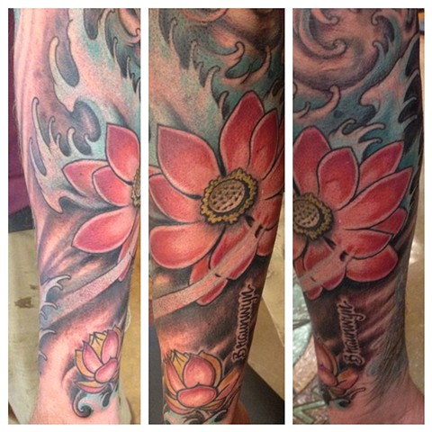 Poppy, water, flower sleeve, Provincetown tattoo, Cape Cod tattoo, Ptown tattoo, truro tattoo, wellfleet tattoo, custom tattoo, coastline tattoo