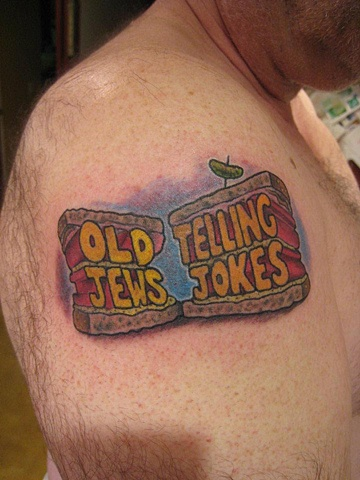 old jews telling jokes, lettering, custom tattoo, Provincetown, Cape Cod, Coastline, Ptown
