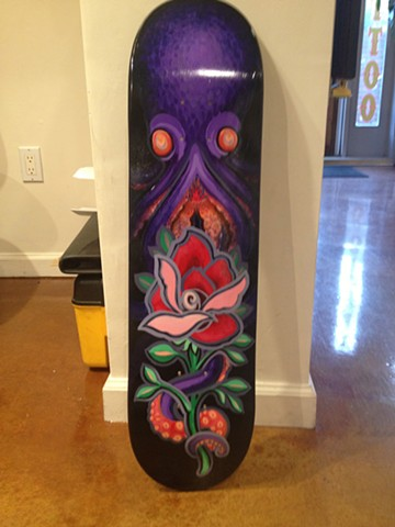octopus rose, acrylic on skate deck, skateboard art, painting, Provincetown, Cape Cod, Coastline, Ptown