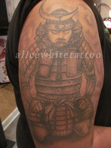 Alice White - Healed black and grey samurai tattoo, Provincetown tattoo, Cape Cod tattoo, Ptown tattoo, truro tattoo, wellfleet tattoo, custom tattoo, coastline tattoo