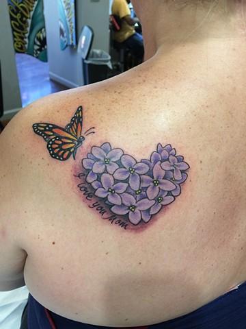 lilac tattoo, monarch tattoo, memorial tattoo, butterfly tattoo, Provincetown tattoo, Cape Cod tattoo, Ptown tattoo, truro, wellfleet, custom tattoo, coastline tattoo