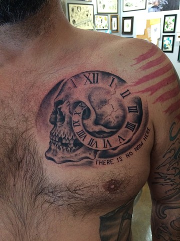 skull tattoo, clock tattoo, time tattoo, Provincetown tattoo, Cape Cod tattoo, Ptown tattoo, truro, wellfleet, custom tattoo, coastline tattoo
