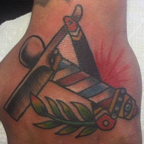 barber tattoo. razor tattoo, barber pole tattoo, Provincetown tattoo, Cape Cod tattoo, Ptown tattoo, truro, wellfleet, custom tattoo, coastline tattoo