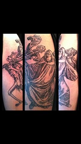 Cindy Vega - skeleton and priest tattoo, Provincetown tattoo, Cape Cod tattoo, Ptown tattoo, truro tattoo, wellfleet tattoo, custom tattoo, coastline tattoo