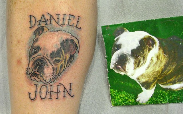 Charles Rouse - bulldog portrait tattoo, Provincetown tattoo, Cape Cod tattoo, Ptown tattoo, truro tattoo, wellfleet tattoo, custom tattoo, coastline tattoo