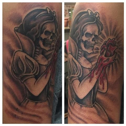 snow white tattoo, Provincetown tattoo, Cape Cod tattoo, Ptown tattoo, truro, wellfleet, custom tattoo, coastline tattoo