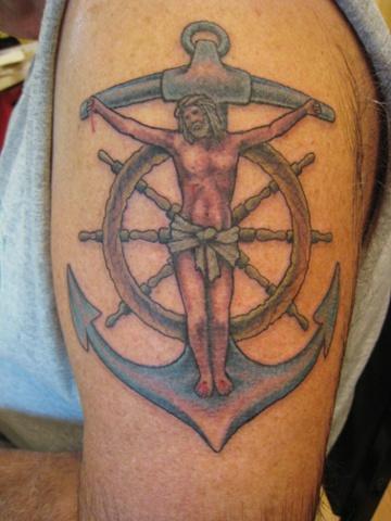 jesus on anchor with ship's wheel, Provincetown tattoo, Cape Cod tattoo, Ptown tattoo, truro tattoo, wellfleet tattoo, custom tattoo, coastline tattoo