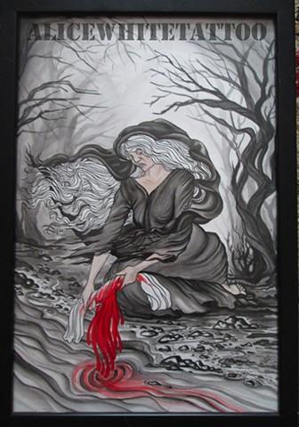 Alice White - Banshee, painting, watercolor, art, Provincetown tattoo, Cape Cod tattoo, Ptown tattoo, truro tattoo, wellfleet tattoo, custom tattoo, coastline tattoo
