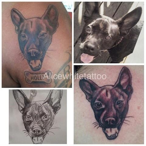 puppy tattoo, dog tattoo, puppy portrait tattoo, dog portrait tattoo, Provincetown tattoo, Cape Cod tattoo, Ptown tattoo, truro, wellfleet, custom tattoo, coastline tattoo