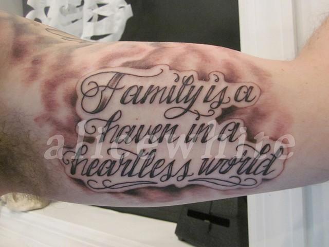 """Alice White - """"Family is a Haven"""" lettering, Provincetown tattoo, Cape Cod tattoo, Ptown tattoo, truro tattoo, wellfleet tattoo, custom tattoo, coastline tattoo"""