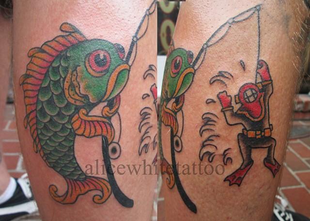 Alice White - Fishing for Men, Provincetown tattoo, Cape Cod tattoo, Ptown tattoo, truro tattoo, wellfleet tattoo, custom tattoo, coastline tattoo