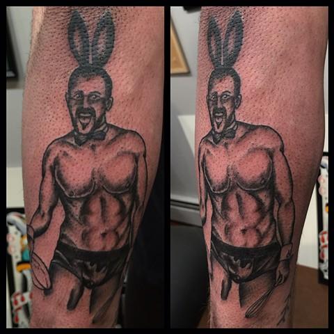 playboy tattoo, pin-up tattoo, baking tattoo, black and gray tattoo, Provincetown tattoo, Cape Cod tattoo, Ptown tattoo, truro, wellfleet, custom tattoo, coastline tattoo
