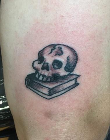skull tattoo, book tattoo, Provincetown tattoo, Cape Cod tattoo, Ptown tattoo, truro, wellfleet, custom tattoo, coastline tattoo