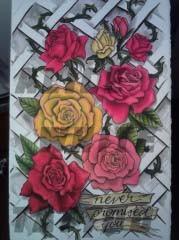 Alice White - Rose Garden, watercolor painting, Provincetown tattoo, Cape Cod tattoo, Ptown tattoo, truro tattoo, wellfleet tattoo, custom tattoo, coastline tattoo