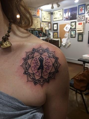 Yoga tattoo, mandala tattoo, Provincetown tattoo, Cape Cod tattoo, Ptown tattoo, truro, wellfleet, custom tattoo, coastline tattoo