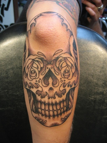 sugar skull - elbow, black and grey, custom tattoo, Provincetown, Cape Cod, Coastline, Ptown