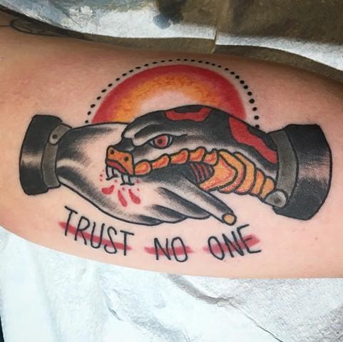 trust no one, traditional, Provincetown tattoo, Cape Cod tattoo, Ptown tattoo, truro, wellfleet, custom tattoo, coastline tattoo