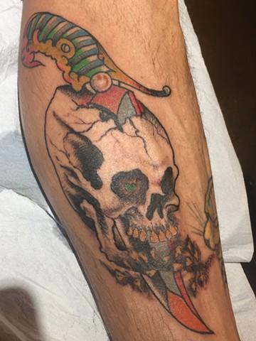 skull tattoo, dagger tattoo, Provincetown tattoo, Cape Cod tattoo, Ptown tattoo, truro, wellfleet, custom tattoo, coastline tattoo