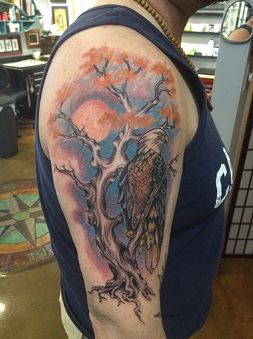 bald eagle tattoo, tree tattoo, Provincetown tattoo, Cape Cod tattoo, Ptown tattoo, truro, wellfleet, custom tattoo, coastline tattoo