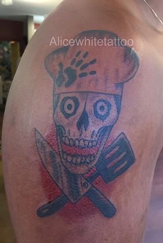 chef tattoo, skull tattoo, cooking utensil tattoo, Provincetown tattoo, Cape Cod tattoo, Ptown tattoo, truro, wellfleet, custom tattoo, coastline tattoo