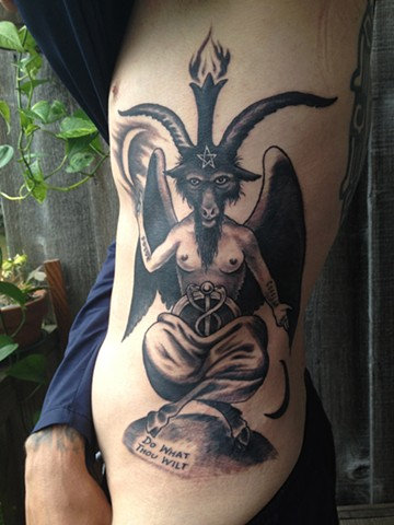 baphomet tattoo, black and grey, Provincetown tattoo, Cape Cod tattoo, Ptown tattoo, truro tattoo, wellfleet tattoo, custom tattoo, coastline tattoo