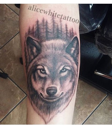 Black and gray tattoo, wolf tattoo, Provincetown tattoo, Cape Cod tattoo, Ptown tattoo, truro, wellfleet, custom tattoo, coastline tattoo
