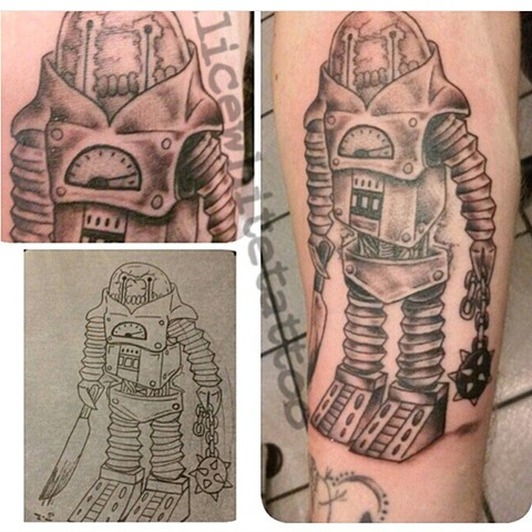 Black and Gray Robot, Provincetown tattoo, Cape Cod tattoo, Ptown tattoo, truro, wellfleet, custom tattoo, coastline tattoo
