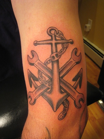 anchor with wrenches, black and grey, custom tattoo, Provincetown, Cape Cod, Coastline, Ptown