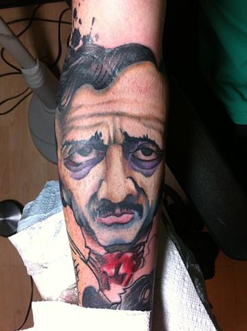 Darl Gnau - Edgar Allen Poe portrait tattoo, Provincetown tattoo, Cape Cod tattoo, Ptown tattoo, truro tattoo, wellfleet tattoo, custom tattoo, coastline tattoo