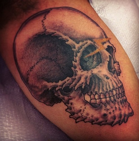 Eric Eaton - skull tattoo, Provincetown tattoo, Cape Cod tattoo, Ptown tattoo, truro tattoo, wellfleet tattoo, custom tattoo, coastline tattoo